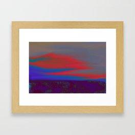"""Twilight Meadow"" (Blue/Orange-Red) Digital Painting // Fine Art Print Framed Art Print"