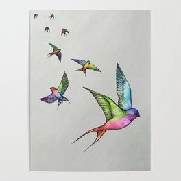 Swallows in Flight Poster