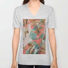 Modern Abstract Painting. Living Coral Pantone 2019 Unisex V-Neck