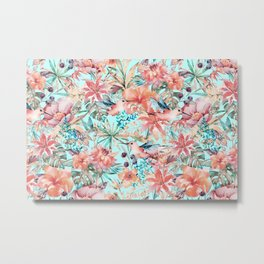 Tropical Jungle Flowers And Birds In Soft Pastels Metal Print