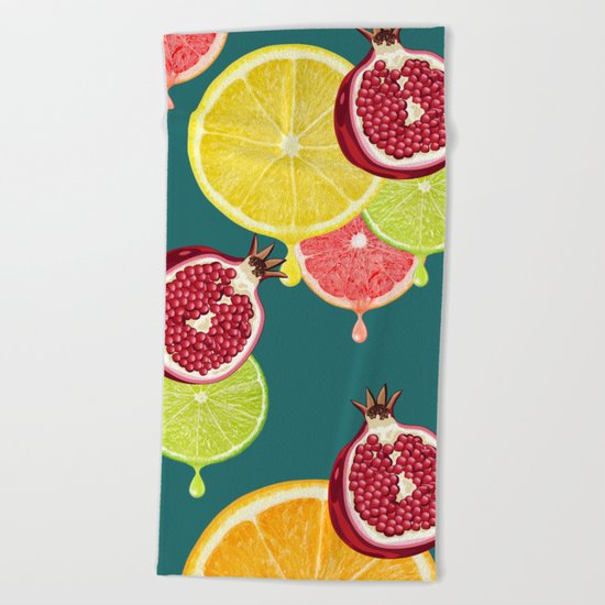 tropic fruit  Beach Towel