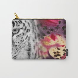 Black & White Leopard & Floral Collage Carry-All Pouch