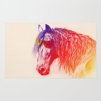 horse Area & Throw Rugs featuring horse  by mark ashkenazi