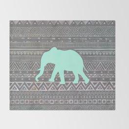 Mint Elephant  Throw Blanket