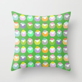 Baby Lambs in the Meadow Throw Pillow