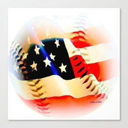 Baseball And Americn Flag Painting By Annie Zeno  Canvas Print