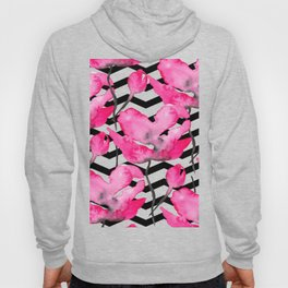 Modern neon pink floral watercolor black pattern geometric chevron Hoody