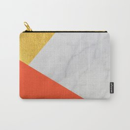 Carrara Marble with Gold and Pantone Flame Color Carry-All Pouch