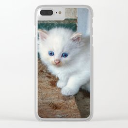 White Kitten Clear iPhone Case