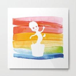 Dancing Groot Watercolor Metal Print