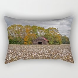 Old Barn in a Cotton Field - Wide Angle Rectangular Pillow