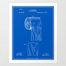 Toilet Paper Roll Patent - Blueprint Art Print