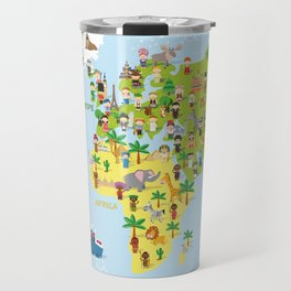 Funny cartoon world map with childrens of different nationalities, animals and monuments. Travel Mug
