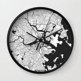 Boston Map Gray Wall Clock