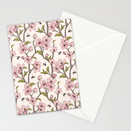 Pink flowers and bees pattern Stationery Cards