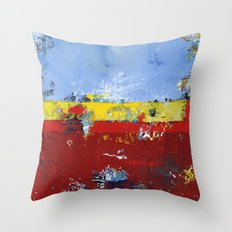 Deerfield Red Yellow Blue Abstract Art Primary Colors Throw Pillow