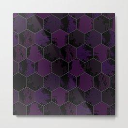 Honey Combs Texture Purple Metal Print