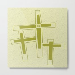 Three Crosses on Calvary. Metal Print