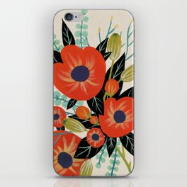Red Poppies - Ivory iPhone Skin