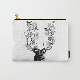 The Stag and Roses | Black and White Carry-All Pouch