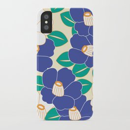 Japanese Style Camellia - Blue and White iPhone Case