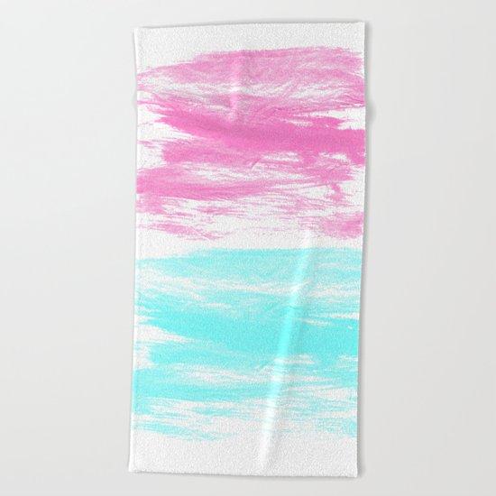Summer Brushstrokes painting boho modern minimal abstract neon painting cool beach socal vibe Beach Towel