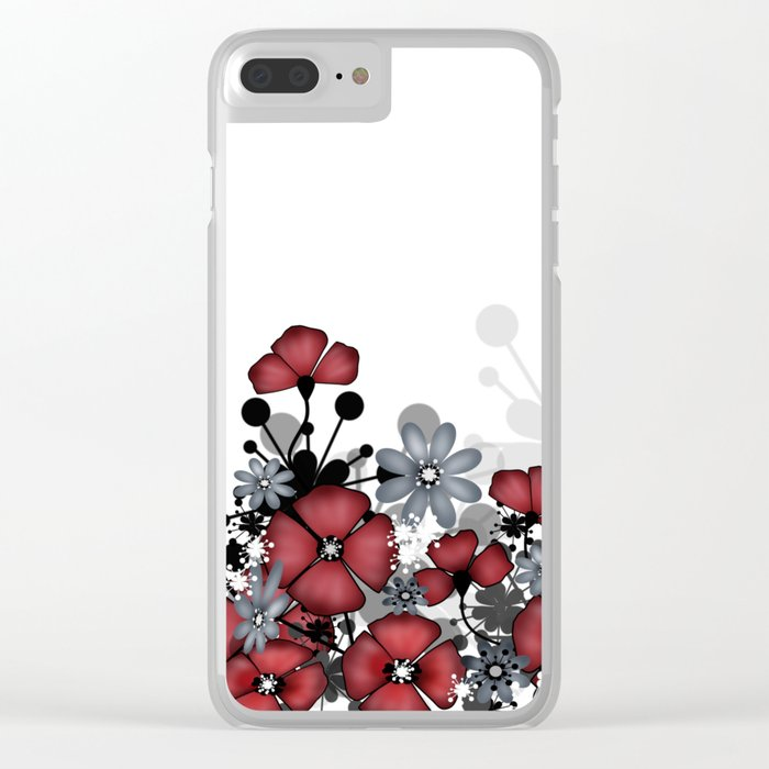 Red flowers on a white background . Clear iPhone Case