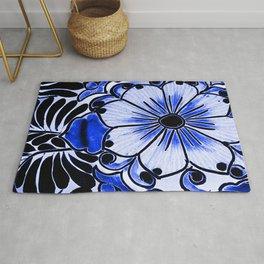 Indigo Blue Flower Rug