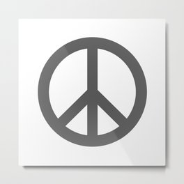 Peace (Grey & White) Metal Print
