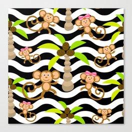 Cute Monkeys on wave stripe background. Canvas Print