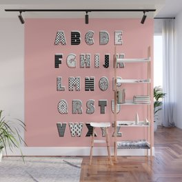 ABC Pink Wall Mural