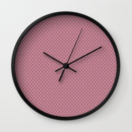 Puce Pink Scales Pattern Design Wall Clock