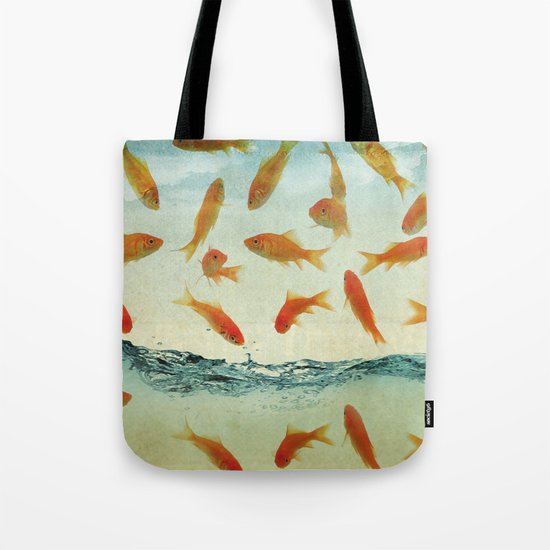 raining gold fish Tote Bag