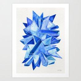Sapphire Watercolor Facets Art Print
