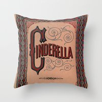 book cover Throw Pillows featuring Cinderella Book Cover by proudcow