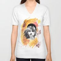 les miserables V-neck T-shirts featuring Les Miserables by Taylor Starnes