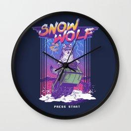 Snow Wolf Wall Clock