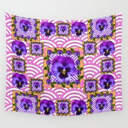 PINK & PURPLE PANSY ART ABSTRACT  PATTERN Wall Tapestry