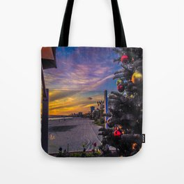 Belmont Shores Christmas Sunset Tote Bag