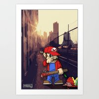 grand theft auto Art Prints featuring Grand Theft Mario by Deano Peppers