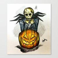 jack skellington Canvas Prints featuring Jack Skellington  by Aonerud