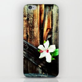 Old wood and a flower. iPhone Skin