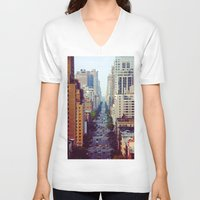 starbucks V-neck T-shirts featuring Which Starbucks? by Phil Provencio