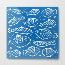 Fish blue white Metal Print