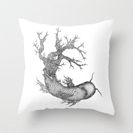 Koi Tree Throw Pillow
