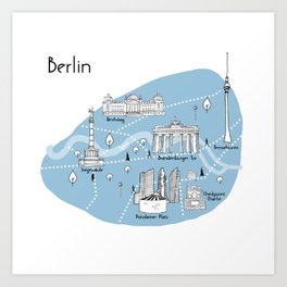 Mapping Berlin - Blue Art Print