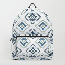 Aztec Style Motif Pattern Blues White Gold Backpack