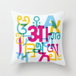 A in Scripts Around the World Throw Pillow
