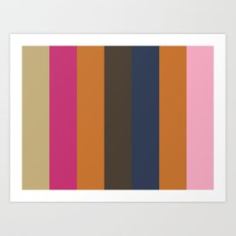 EMOTION: (E)cru (M)agenta (O)chre (T)aupe (I)ndigo (O)chre (N) adeshiko Pink. Art Print