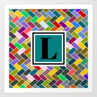 monogram Art Prints featuring L Monogram by mailboxdisco